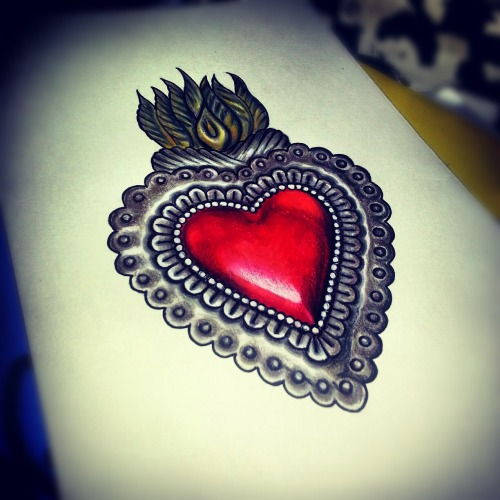 My drawing of a Mexican tin heart