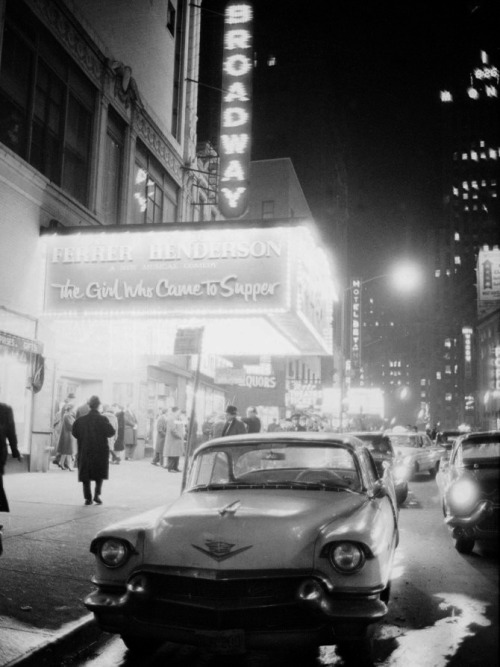 m3zzaluna:  neon signs at night time on broadway, new york, 1950s photographer unknown