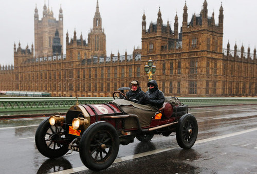 Morning! Over 500 pre-1905 vehicles made their way on the historic 60-mile run from Hyde Park in London to coastal Brighton in southern England, in the world's longest running motoring celebration, going back 116 years. All vehicles must be driven at an average speed of no more than 20mph - take a look at the wet and windy pics by clicking on the photo Photograph: Lefteris Pitarakis/AP