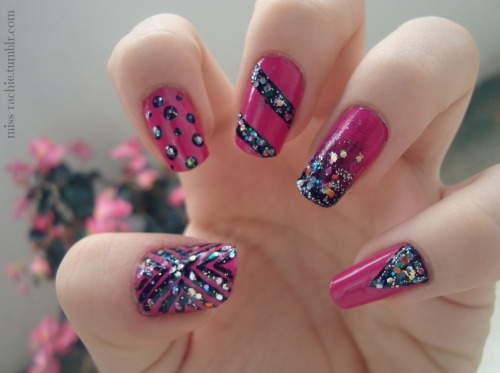 Colors used: OPI - Pink flamencoNail Paint by BarryM: BlackEssence, special effect topper: Circus confetti