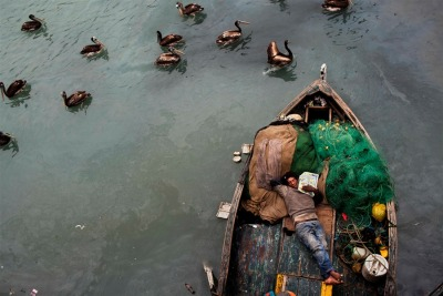 fotojournalismus:  A fisherman takes a nap on his boat after deep sea fishing all night in El Callao, Peru, Nov. 3, 2012. [Credit : Rodrigo Abd / AP]