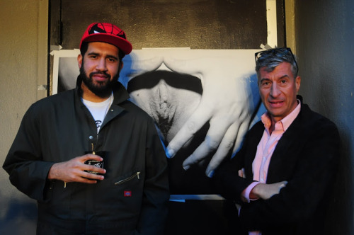 Hennesy Youngman and Maurizio Cattelan in front of my art