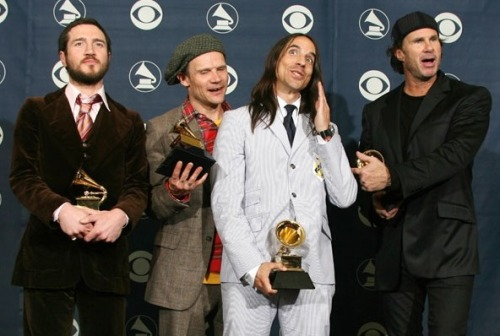 Red Hot Chili Peppers after winning the best rock album of the year at the 49th Grammy Awards in Los Angeles, California on February 11th, 2007.