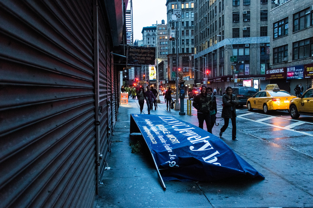 Downed sign in the Garment District
