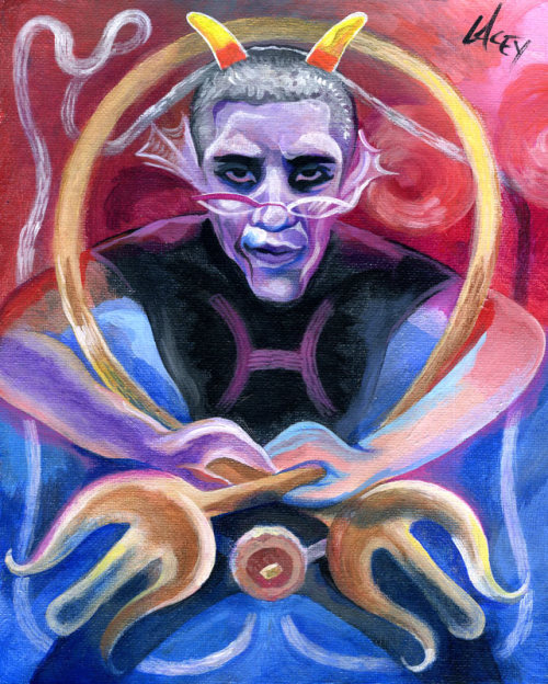 supersmalls:  deadmeenah:  thepainterofpancakes:  A painting of President Barack Obama as Meenah Peixes  bury me with this painting  can i get a print of this