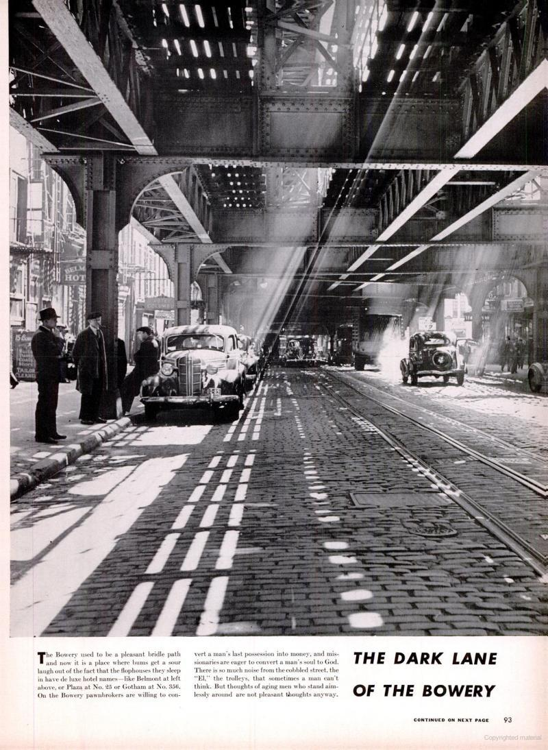 """The Dark Lane of the Bowery"" via LIFE magazine (archived by Google Books), Apr. 14, 1941. Photos by Andreas Feininger."