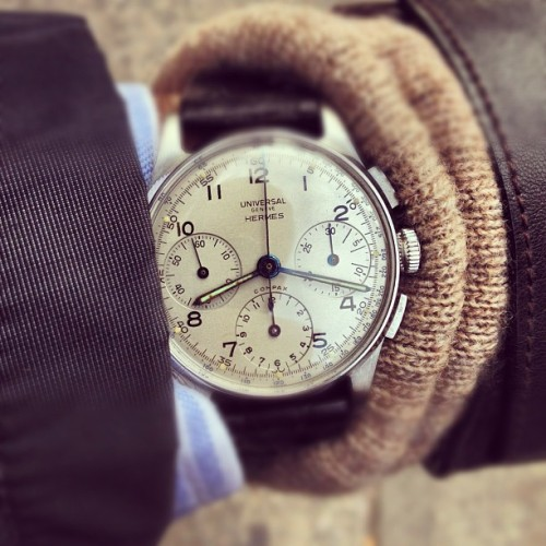 hodinkee:  1940s Universal Geneve Compax chronograph sold by Hernes. Find another…