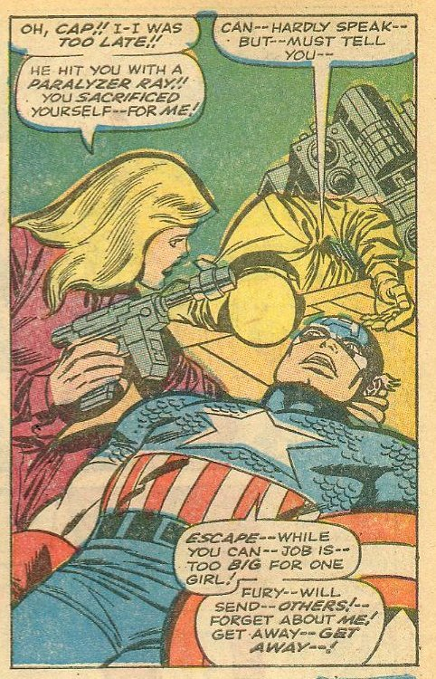 Too big for one girl? Don't be such a chauvinist, Cap! Tales of Suspense #93 (1967) written by Stan Lee, pencils by Jack Kirby, inks by Joe Sinnott