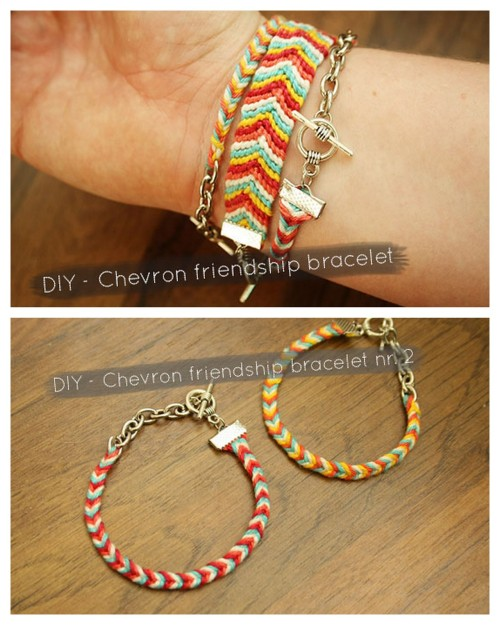 DIY Two Tutorials for Chevron Braided Friendship Bacelets Tutorials from By Wilma. *For pages more of friendship bracelets go here: truebluemeandyou.tumblr.com/tagged/friendship Top Photo: 10 Strand Braided Chevron Friendship Bracelet Tutorial from By Wilma here. Bottom Photo: 8 Strand Easy Braided Chevron Friendship Bracelet Tutorial from By Wilma here.