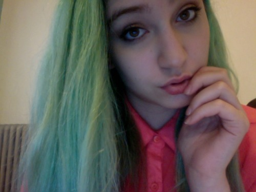 My hair is green.