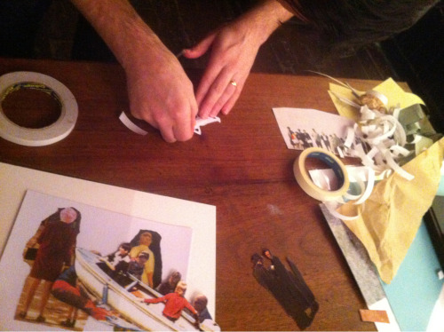 @anthonyzinonos cutting, sticking, pasting at the install of his show, opening this Thursday at 8pm