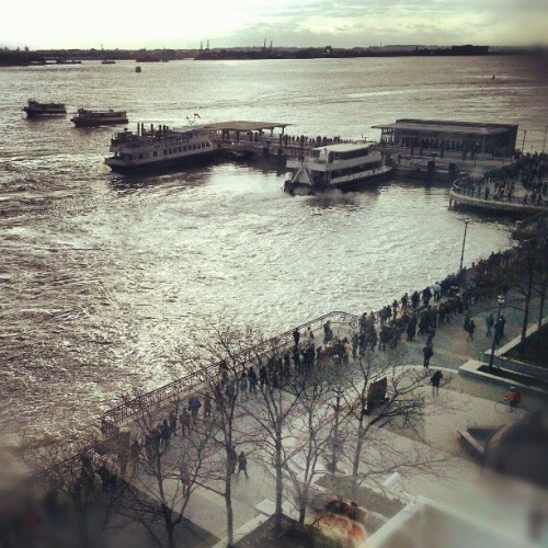 Long lines to get back to work -Commuter  Ferries into Manhattan #sandy #hurricanesandy #commute #jerseycity #newjersey #NYC #newyork #Manhattan #water #river #transportation #traffic #sky #landscape #nature #picoftheday #photooftheday #instalike #instamood #photography #Hudson #ferry #path #subway #trail