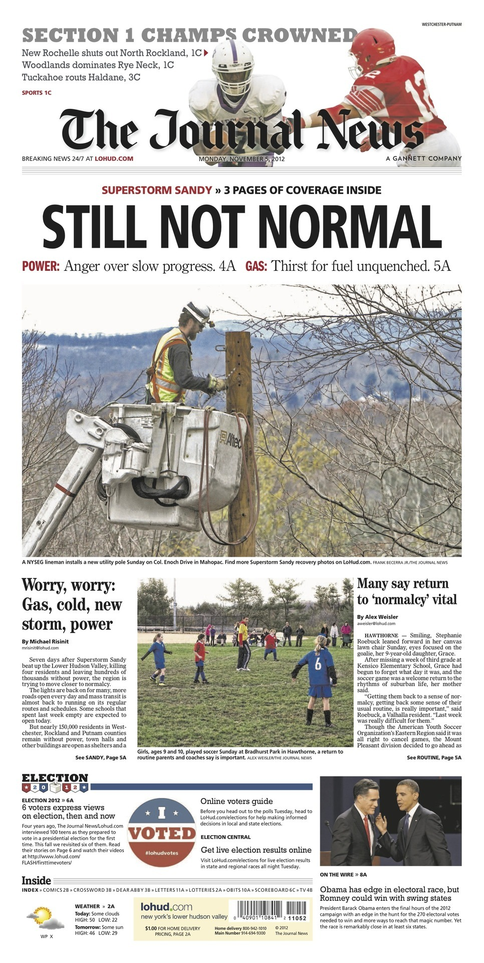 The Journal News Headlines from 11/05/12: Worry, worry: Gas, cold, new storm, power  Many say return to 'normalcy' vital  ELECTION 2012