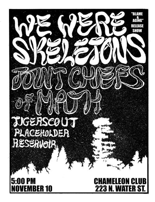 wewereskeletons:  Our record release show is fast approaching. There will be 30 screened LP covers exclusive to the show, new shirts, and more fun stuff. Facebook event here: https://www.facebook.com/events/391332950938670 Tell your friends.  https://www.facebook.com/events/391332950938670
