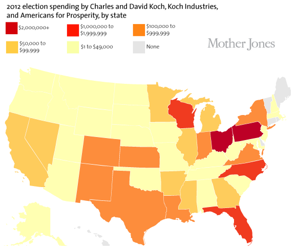 motherjones:  How much have the Koch Brothers spent in your state to sway tomorrow's vote?