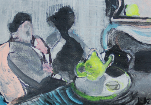 "Lauren Krukowski, Tea (Cassatt), 4"" x 6"" mixed media on canvas, 2012"