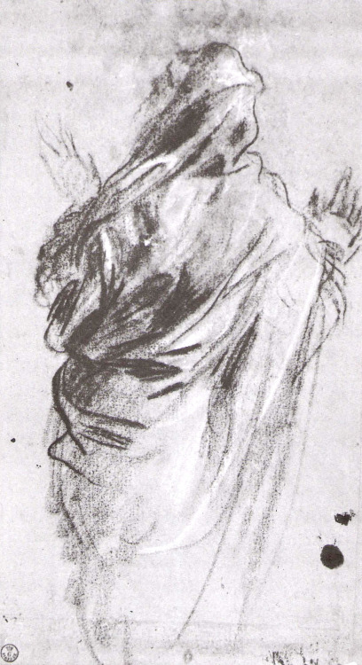 Tintoretto (Jacopo Robusti) (1512-1594), Draped Standing Figure. Black chalk, 33.4 x 18 cm (13 1/8 x 7 1/16 in). Uffizi, Florence.