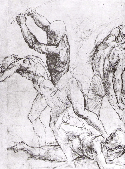 Raphael Sanzio (1483-1520), A Combat of Nude Men. Red chalk over stylus work, 37.9 x 28.1 cm (14 15/16 x 11 in). Ashmolean Museum, Oxford.