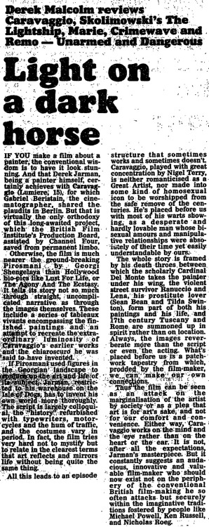 Derek Malcolm reviews Caravaggio – From the Guardian, 24 April 1986