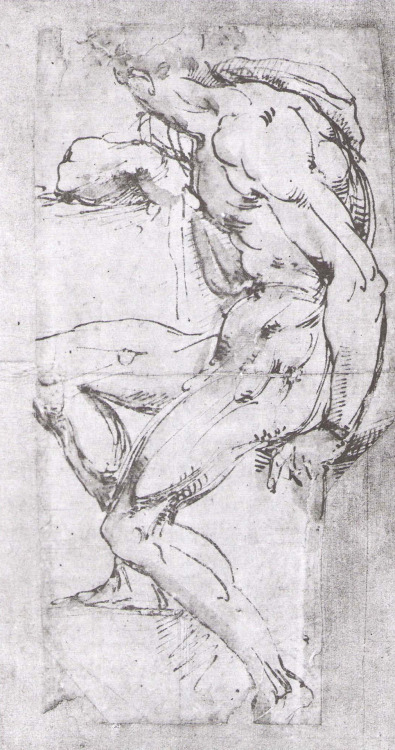 Baccio Bandinelli (1493-1560), Male Nude From Sistine Ceiling. Pen and bistre wash, 40 x 21 cm (15 3/4 x 8 1/4 in). British Museum, London.