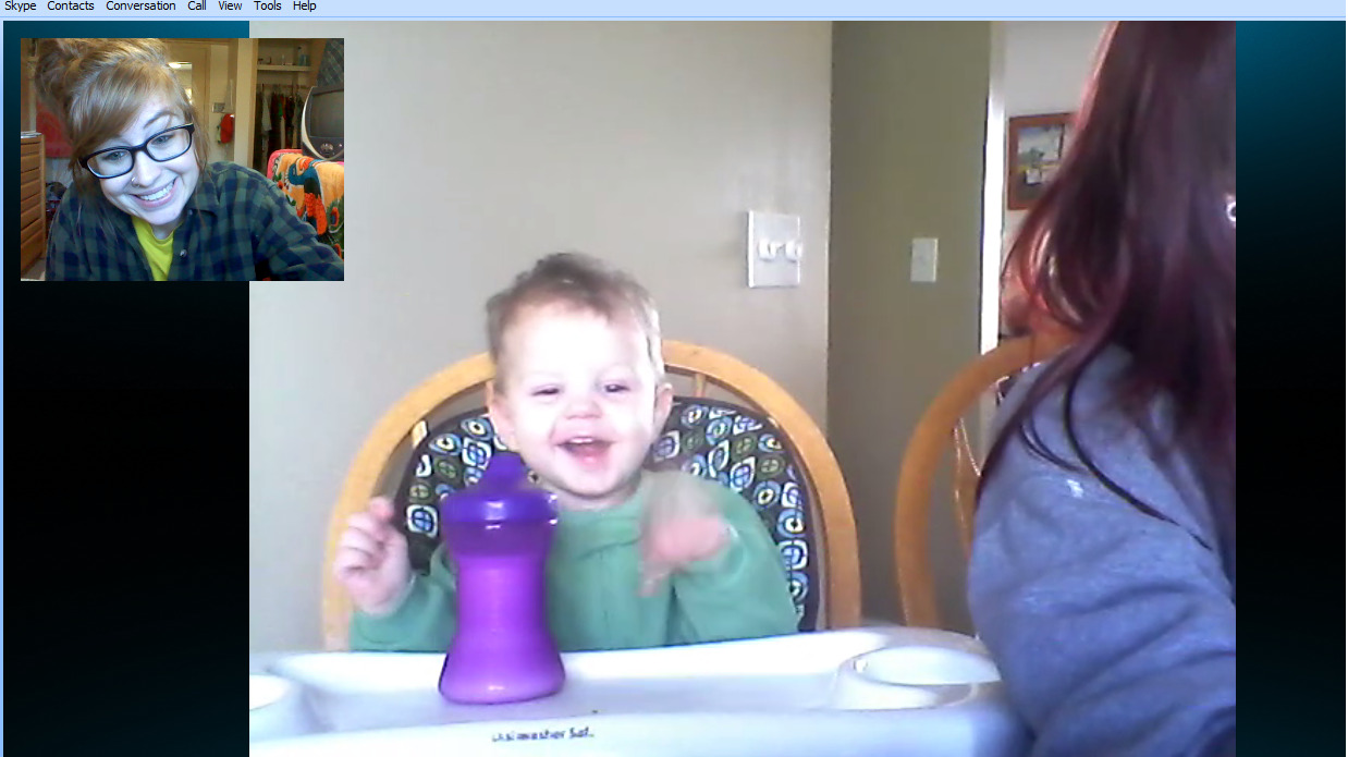 Skyping with my nephew.Nothing feels better than being able to make him laugh from over 700 miles away.<3