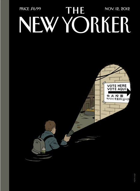 "newyorker:  ""Undeterred,"" the Nov. 12, 2012 cover of the magazine. Here, the artist Adrian Tomine talks about the inspiration for his cover."