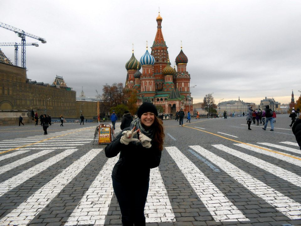 Sister Lauren Silverman throwing what she knows abroad in Russia!
