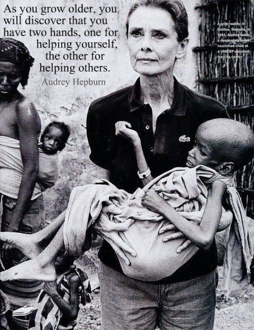 gracemeow:   Audrey Hepburn spent many years in Africa helping the helpless. Yet all the pictures on Tumblr show her as a fashion icon. Fashion passes in a wink, compassion lasts forever.  love this