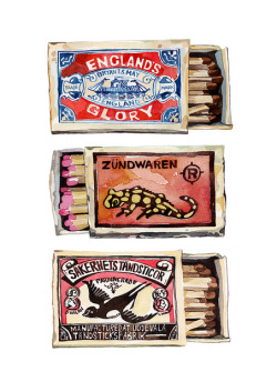 if these watercolor matchbooks were real, we'd use em to light our favorite glassybaby.