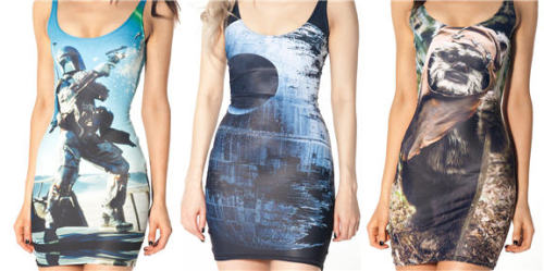 The Emperor Strikes Back in Black Milk Clothing's Latest Collection [link] In collaboration with Lucasfilm, Australian fashion brand Black Milk Clothing launched the second installment of their much-anticipated Star Wars Collection this week (the first installment can be seen here). Entitled Star Wars Ep 2 - The Emperor Strikes Back, this second installment includes a Death Star dress, a Darth Vader swimsuit, and leggings featuring a Star Wars photo montage. In addition to the Star Wars pieces, Black Milk also released a few pairs of video game-inspired leggings, featuring motifs of 8-bit food items and a metallic triangular pattern that is rather reminiscent of the Triforce. Check out Black Milk's Star Wars Ep 2 - The Emperor Strikes Back Collection on ComicsAlliance!