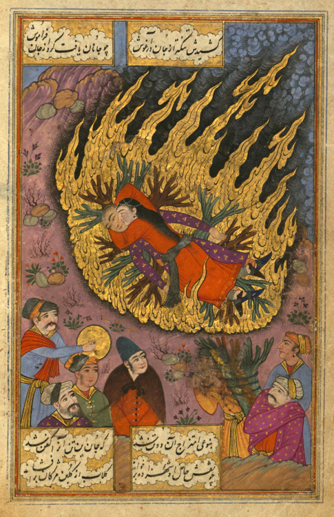 willigula:  A Hindu girl throws herself on the funeral pyre of her betrothed, from the poem Sūz va gudāz (Burning and Melting) by Nawʿī Khabūshānī, illuminated by Muḥammad ʿAlī Mashhadī, Iran, 1657