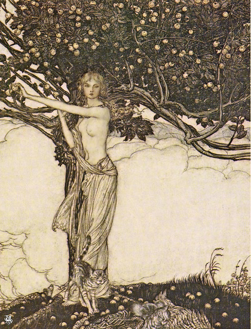 oldpainting: 1910 Arthur Rackham (British artist, illustrator, 1867-1939) ~ Freya Goddess of Youth via Flickr; click image for 850 x 1113 size