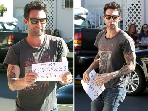"Adam Levine says put down that ""Payphone"" and text! See what he's doing to help Hurricane Sandy victims by clicking above!"