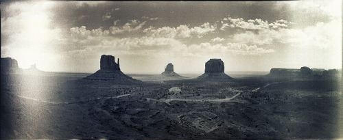 Monument Valley, May 2012.  Expired Kodak TMax 800 shot on a Russian panoramic camera. Photo© Dave Lehl