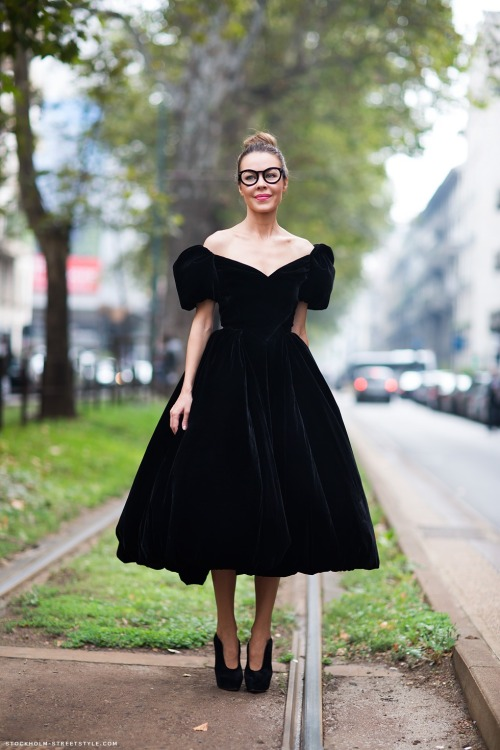 Velvet New Look-style gown and hipster glasses, because, why not?
