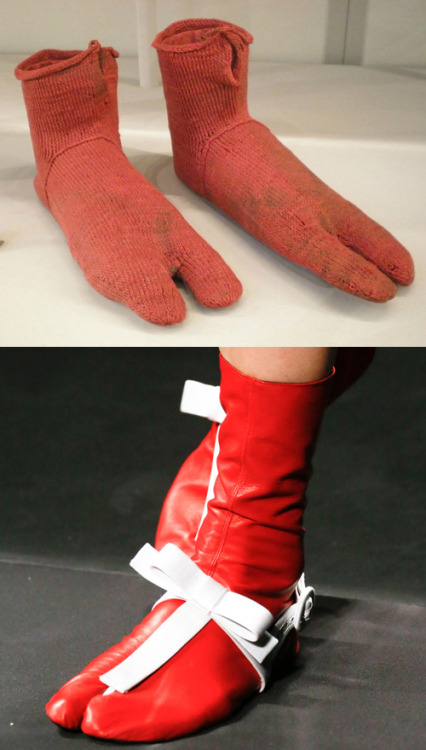 papermag:  Our minds are blown: these socks, made sometime between A.D. 250 and A.D. 420 wouldn't look out of place on, say, a Prada runway today.