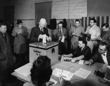 President Eisenhower casts his ballot in the 1956 election.