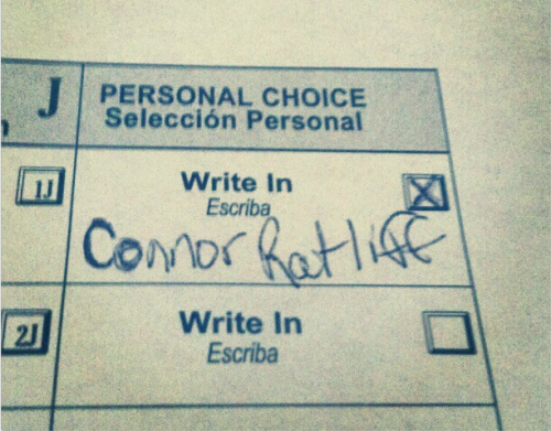 """ComptonAssCraig"" posted this photo of his vote.   I don't want to be overly optimistic, but there is an old saying in politics: ""As ComptonAssCraig goes, so goes the nation.""                                         TUNE IN TOMORROW, starting at NOON for the most unpredictable election coverage you are going to find anywhere on earth, as The Chris Gethard Show hosts 12 hours of LIVE election coverage (including a simultaneous live-stream from RATLIFF 35/2012 campaign headquarters!) http://thechrisgethardshow.com/"