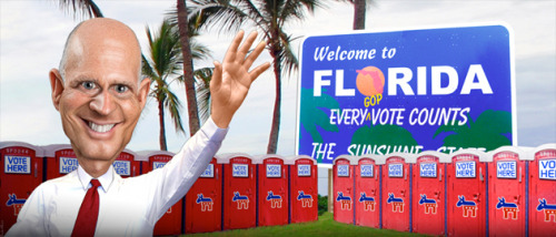 motherjones:  Florida governor Rick Scott ignores his state's early-vote mess to stump with Mitt Romney in the town where Trayvon Martin was shot. Not an Onion headline, but an actual thing that happened this morning. Wowzers.