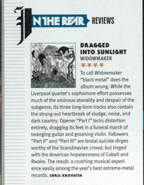 "4/5 review for Dragged Into Sunlight ""Widowmaker"" in the new REVOLVER Magazine!!   ""Widowmaker"" comes out tomorrow!! Where are you getting your copy from?"