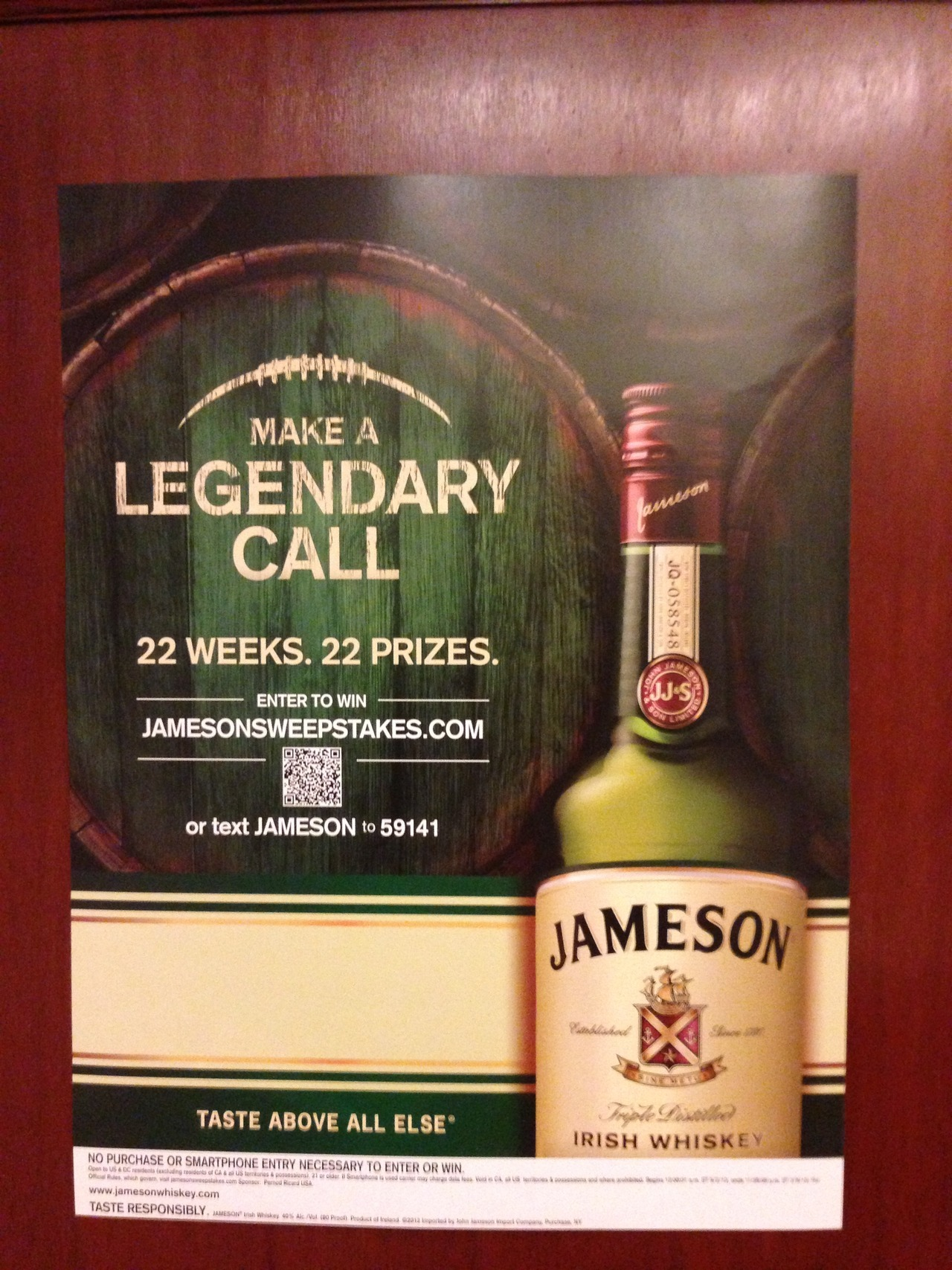 Brand: Jameson Location: Signage Source: Cell phone picture, November 5 2012 What we liked: Elegant design here. Very easy to read and process. What we didn't: QR code seems a little small for its placement type. Have to get pretty close to scan.