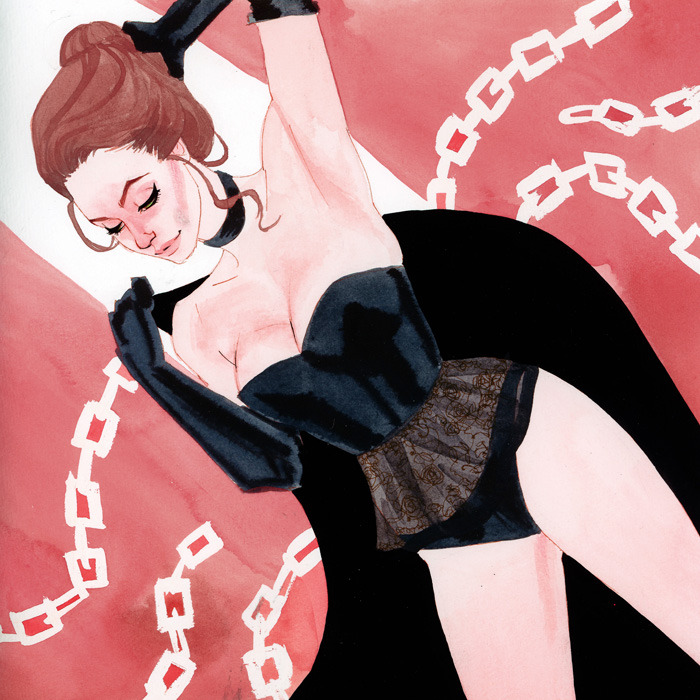 Jean Grey, the Black Queen APE 2012 commission Modeled after Emma Peel of The Avengers, in a particularly dark and revealing dominatrix type outfit.