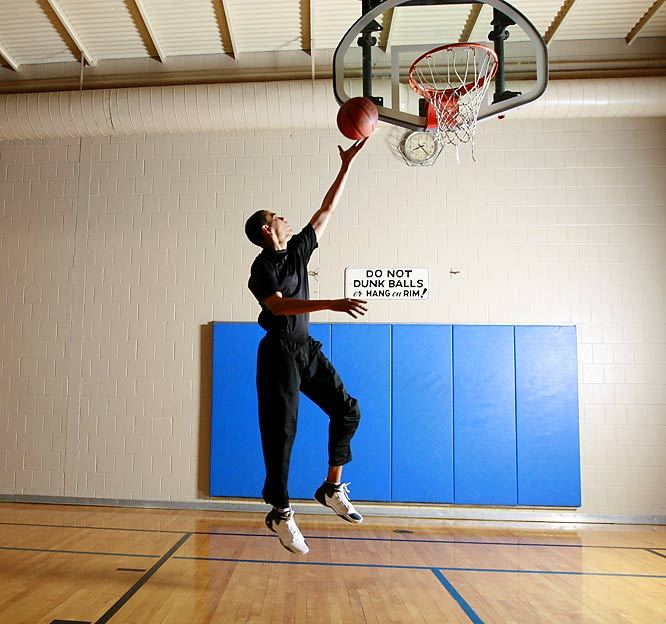 President Barack Obama coasts in for a layup during a 2008 SI Photo shoot. The election is tomorrow - don't forget to vote. (Bill Frakes/SI) GALLERY: Barack Obama Playing Basketball