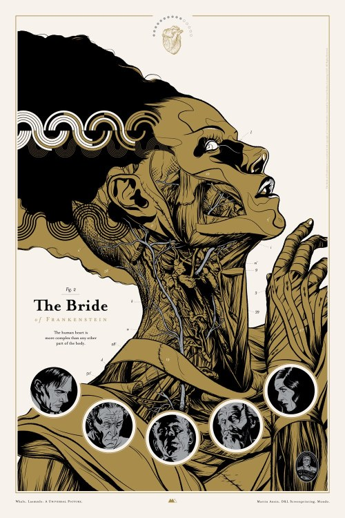 "faniacgallery:   ""BRIDE OF FRANKENSTEIN"" art-poster by Martin Ansin (for Mondo Gallery) http://martinansin.com/"