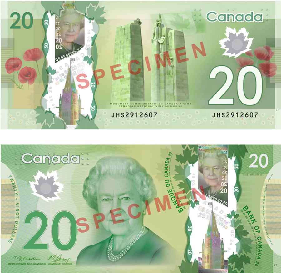 Bank of Canada to release new $20 bill On Wednesday, the Bank of Canada will begin circulating a new $20 bill made of polymer instead of paper.The new bill pays tribute to the contributions and sacrifices of Canadian men and women in all military conflicts and is being released just before Remembrance Day. The note features a view of the Canadian National Vimy Memorial on its back. (Handout/Bank of Canada/The Canadian Press)