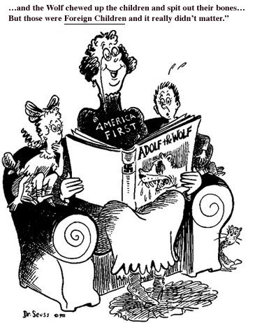 fuckyeahwwiipropaganda:   Political cartoon by Dr. Seuss denouncing America First, an anti-interventionst organization. From October 1, 1941  source and more info