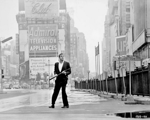 Harry Belafonte, as Ralph Burton, in a deserted Times Square in The World, the Flesh, and the Devil, 1959