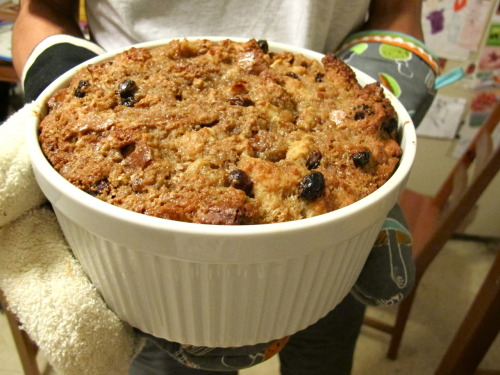 My first Bread Pudding. Also, GO VOTE. Bread Pudding is American, right? No, not really, a lot of different cultures have their own versions and it's probably been around much longer than this country has, but I didn't make anything patriotic (I might later today) so you should still GO VOTE, regardless. Anyway, I've never made Bread Pudding before, I didn't even know what it was until one or two years ago… Honestly, I'm still not really sure what it is. But I made some last week and wanted to share… I looked up a ton of different recipes. Some involved a lot of eggs, some had just a couple, a lot called for bourbon and a sauce that you added when it was done in the oven. I took a bunch of things out of the fridge, some spices that sounded like a good idea, and mixed it with the gazillion, now toasted, rolls that we had taking up space in our freezer (I don't know why we had so many rolls). I had no idea what it was going to taste like, if it would even be palatable. But it was. It was comforting, and moist, and lovely. Here's what was inside: 3 eggs 1 cup light brown sugar 1 cup granulated sugar 2 teaspoons vanilla 1/2 teaspoon cinnamon 1/2 teaspoon vanilla 1/2 cup raisins 1/4 cup butter 2 cups vanilla almond milk 7+ cups old rolls, toasted and cut (or ripped) into small pieces Thanks for VOTING today. It's important. You're important.