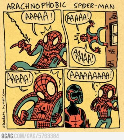 9gag:  If Spider-Man was arachnophobia