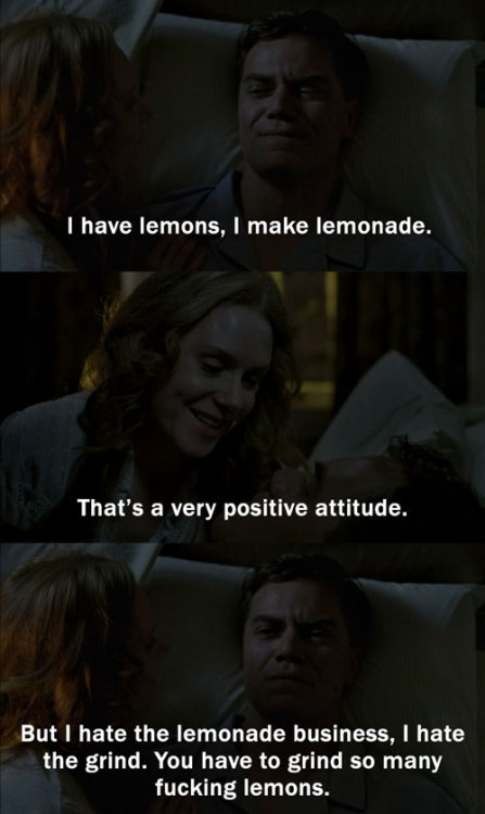 Oscar: I have lemons, I make lemonade. Michael: That's a very positive attitude. Oscar: But I hate the lemonade business, I hate the grind. You have to grind so many fucking lemons. 1 x 20 - Whistler's Mother